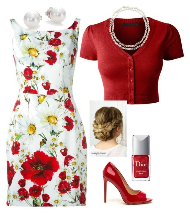 """""""Red Blossoms"""" by catstale ❤ liked on Polyvore featuring Dolce&Gabbana, LE3NO, Christian Dior, Chico's and Mikimoto"""