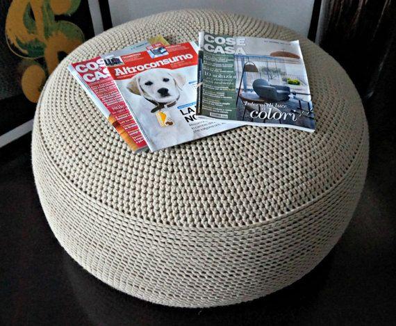 CROCHET PATTERN DIY Tutorial Large Crochet Pouf Poof, Ottoman, Footstool, Home Decor, Pillow, Bean Bag, Floor cushion (Crochet Pattern)
