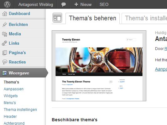 WordPress - themes beheren.