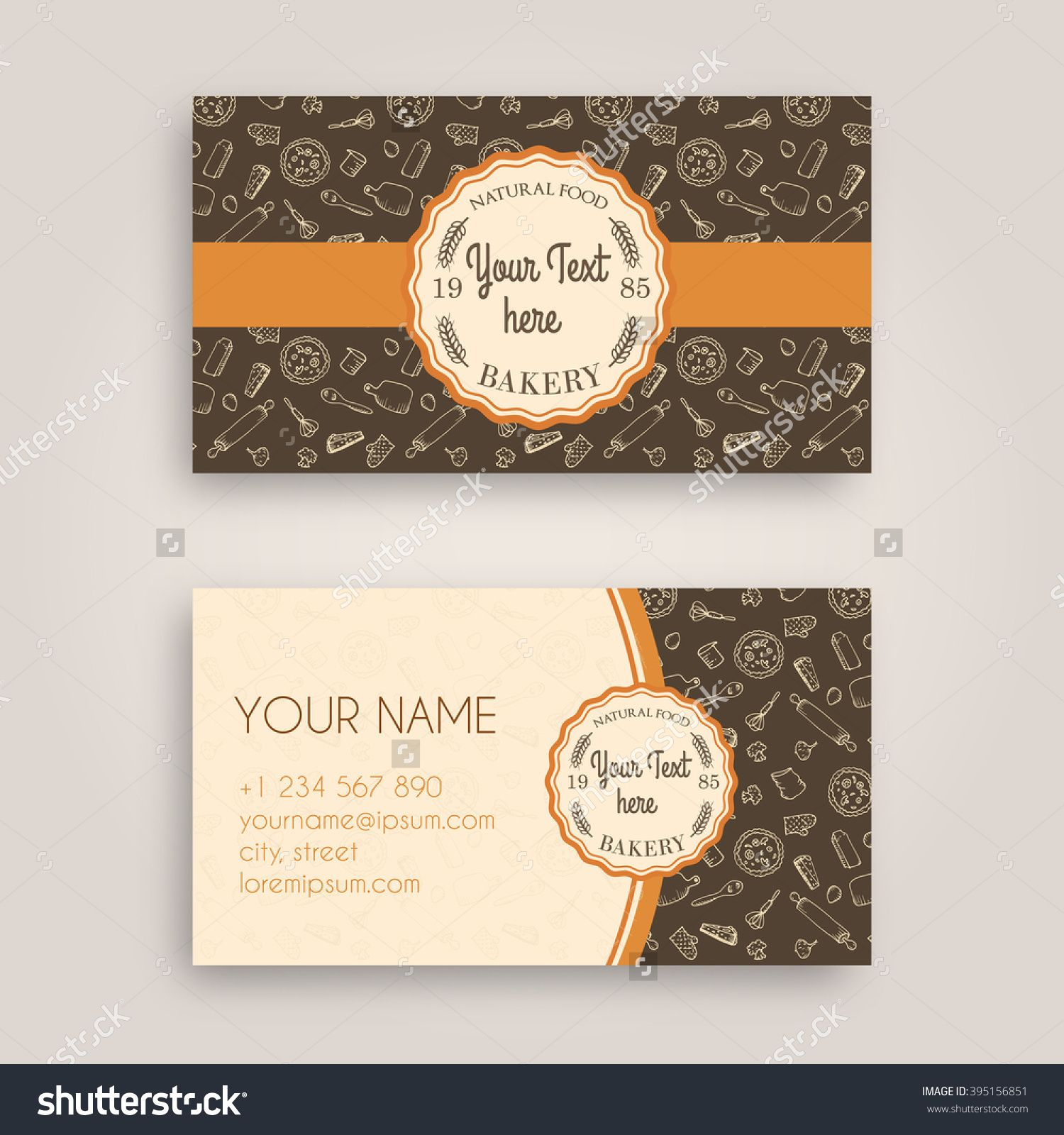 Vector Business Card Design Template With Doodle Bakery Hand Drawn Pattern And Vintage Vector Business Card Business Card Design Business Card Template Design