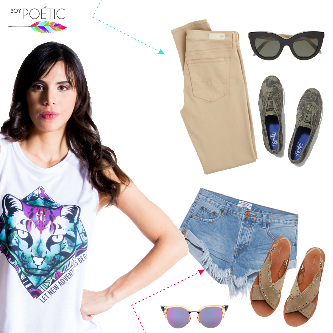 ¿Pantalones o shorts? ¿Cuál es tu estilo?  #SoyPoétic #ootd #outfit #look #lookdujour #lookdeldía #shorts #pants #tshirt #tiger #purple #sunglasses #girl #tropical #wild