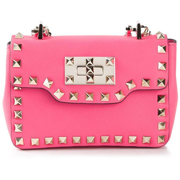 Valentino Garavani Rockstud Hot Pink Leather Clutch HWB00552 (10 ...
