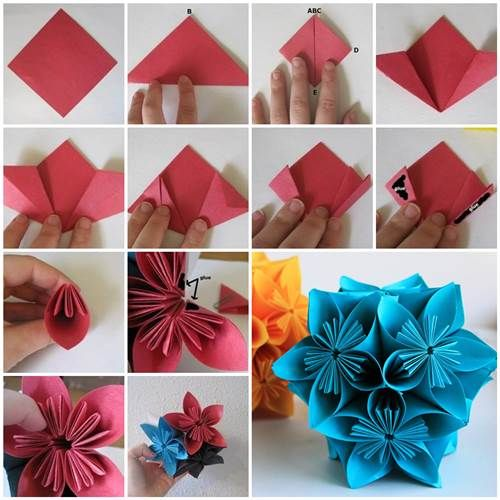 How To Make A Flower Paper Basket : How to make beautiful origami kusudama flowers