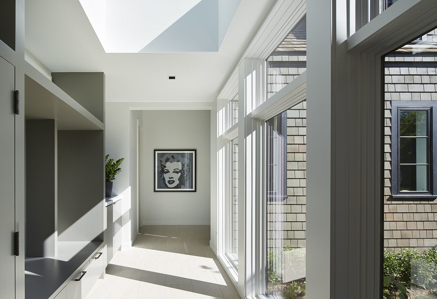 Gray and White Hallway with Large Pop Art Picture | Martha O'Hara Interiors