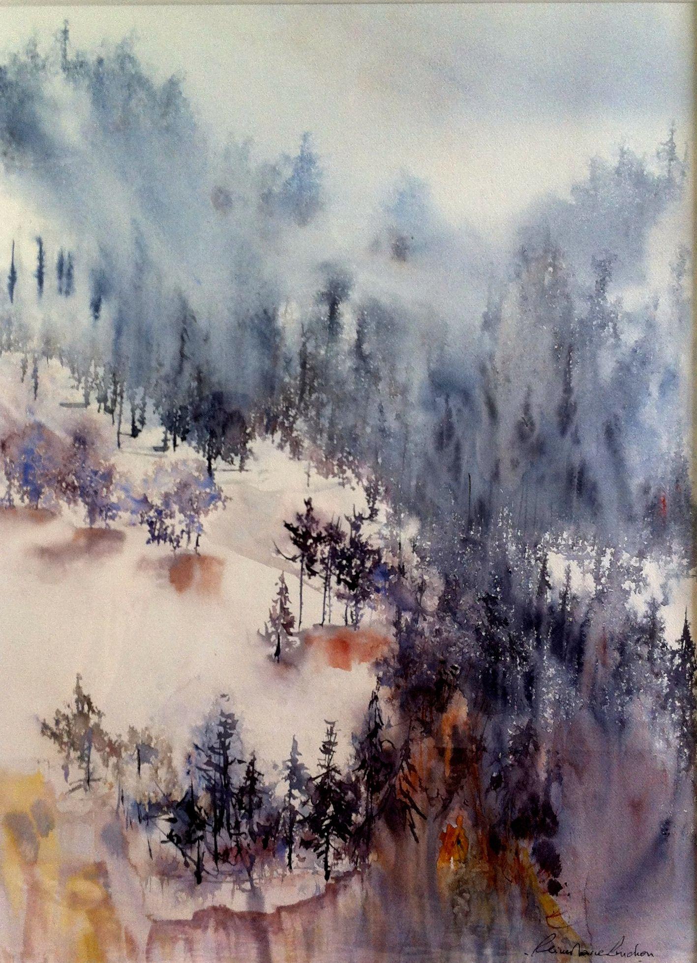 Aquarelle Reine Marie Pinchon Peinture Paysage Arbres En