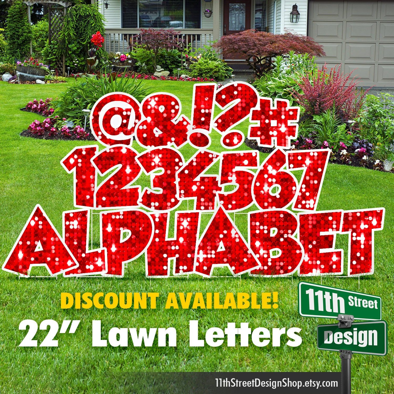 22 Red Sparkle Lawn Letter Yard Signs 22 Chunky Etsy In 2021 Yard Cards Yard Signs Happy Birthday Yard Signs