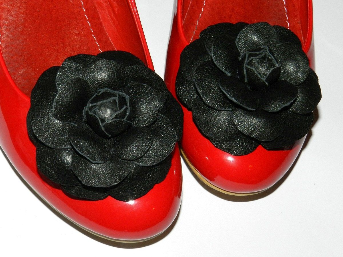genuine leather shoe clips shoe jewelry clips for shoes shoe clips Leather flower Shoe Clips