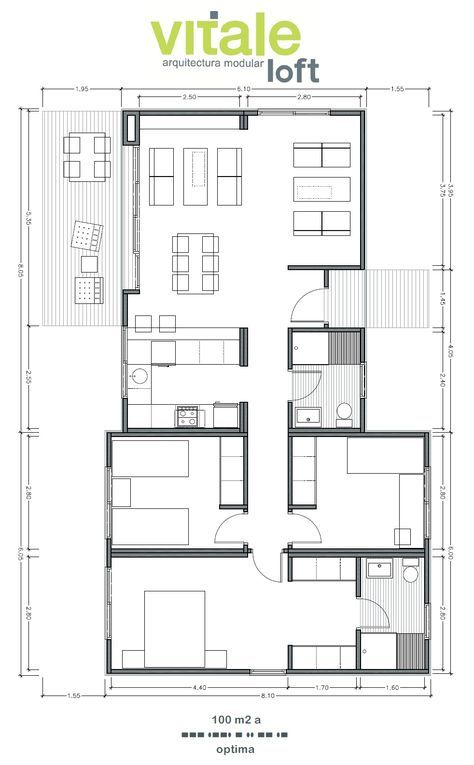 Modelo OPTIMA 100 m2 blanca Pinterest House, Tiny houses and - Plan Architecture Maison 100m2
