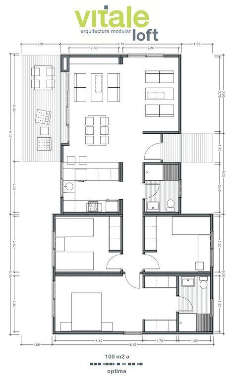 Modelo OPTIMA 100 m2 Planos - Distribución   House plans