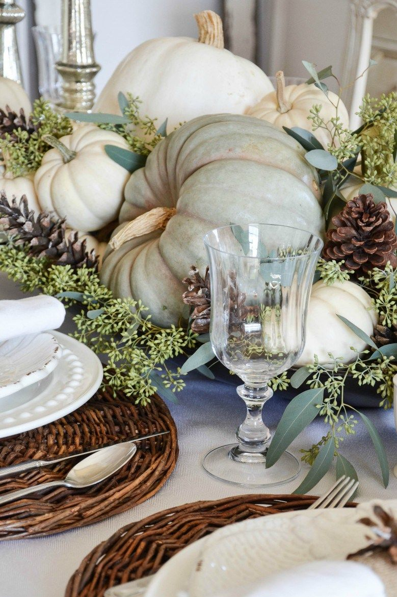 The Most Stunning Fall Flower Arrangements and Centerpieces, Period   Fall  table decor, Thanksgiving table decorations, White pumpkin centerpieces