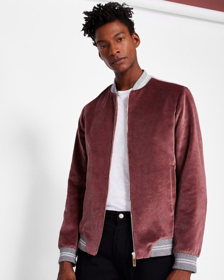 a1e2f7dc60ec6 Luxury velvet bomber jacket - Dusky Pink