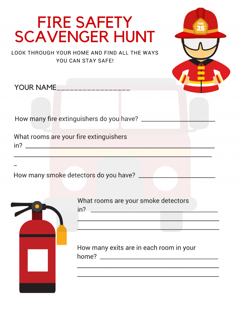 Fire Safety Scavenger Hunt Free Printable Download for