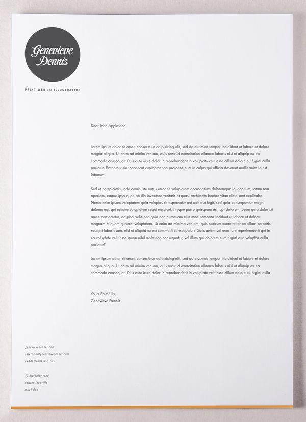 Self promotion stationery by genevieve dennis via behance self promotion stationery on the behance network letterhead spiritdancerdesigns Choice Image