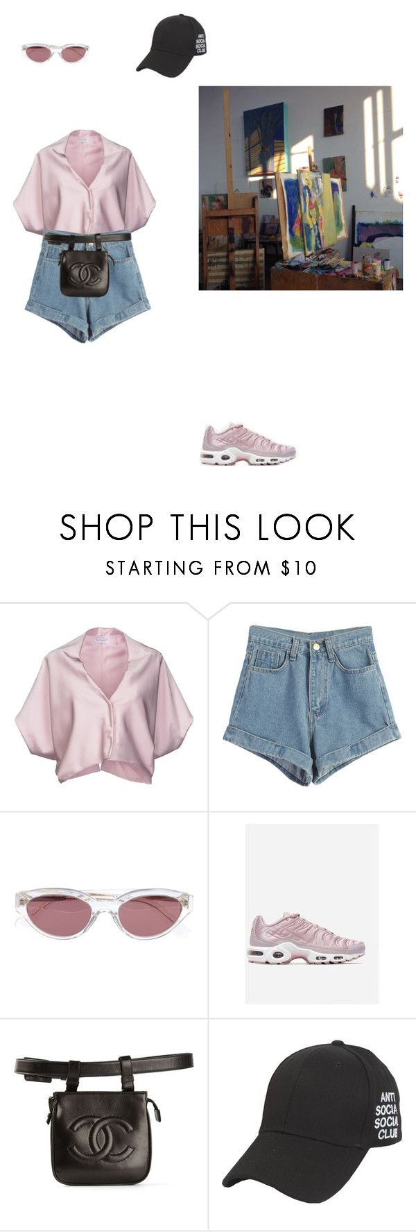 """""""Без названия #24"""" by vorls ❤ liked on Polyvore featuring Vionnet, WithChic, RetroSuperFuture, Chanel, jeanshorts, denimshorts and cutoffs"""