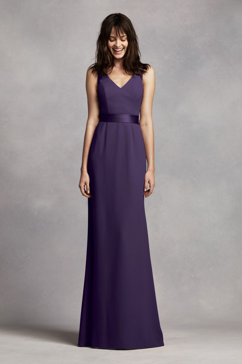 Long v neck crepe gown with open back style vw dress for my