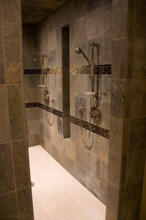 Finished Marble Shower With Two Rain Heads One Shower Head Four