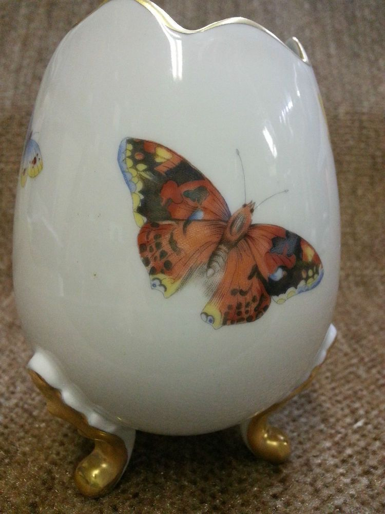 Vintage Limoges Egg Shaped Footed Vase W Butterflies From