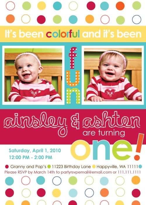 Two Turning One Twins First Birthday Invitation by inkberrycards – Twin 1st Birthday Invitations