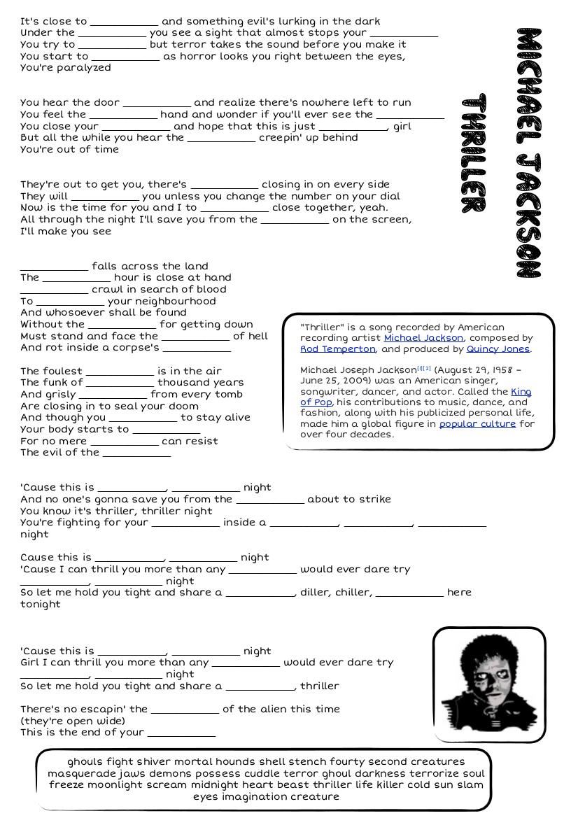 Thriller Michaeljackson Png 826 1169 Actividades De Ingles Ejercicios De Ingles Gramatica Del Ingles