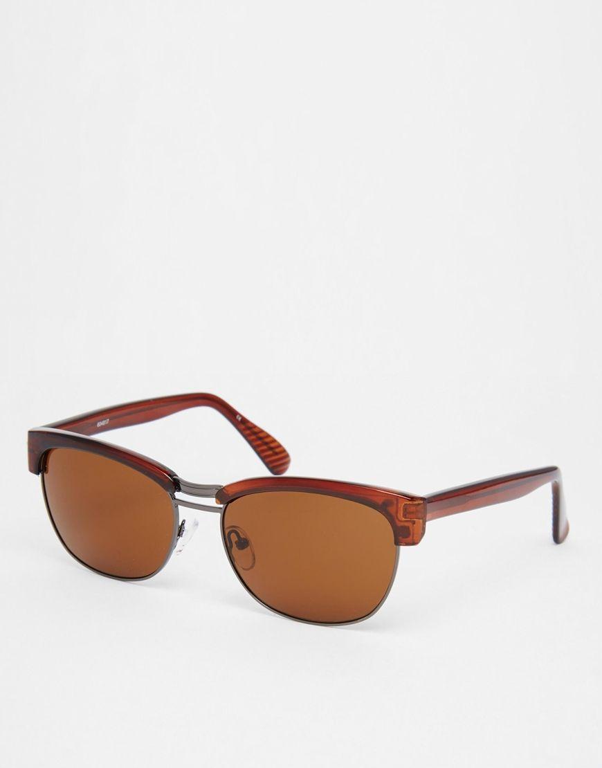 Sonnenbrille von ASOS halbtransparenter eckiger Rahmen verstellbare Nasenpolster aus Silikon für besonderen Komfort dunkel getönte Gläser schmale Bügel mit abgerundeten Enden für einen sicheren Sitz voller UV-Schutz Rahmenbreite: 14cm/6 Zoll