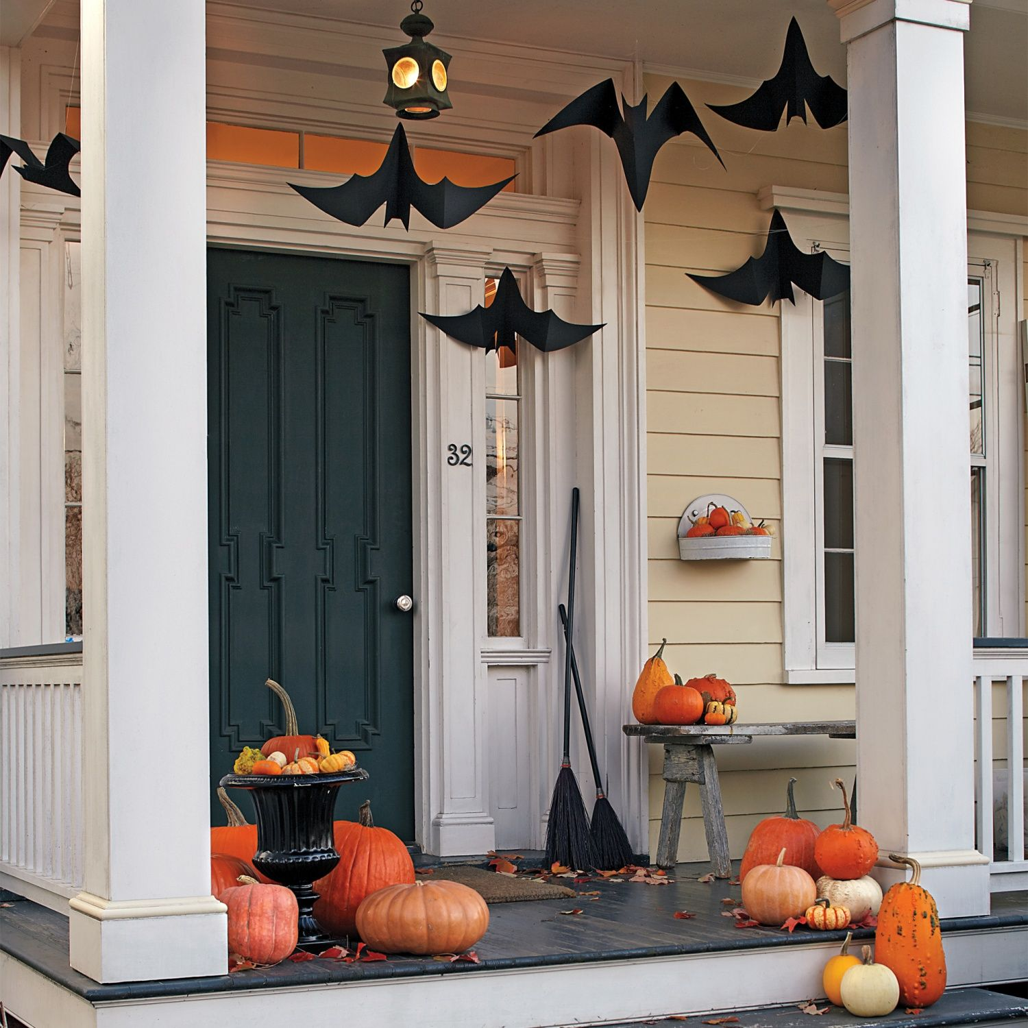 Outdoor Halloween Decorations Bats, Front porches and Cave - diy outdoor halloween decorations