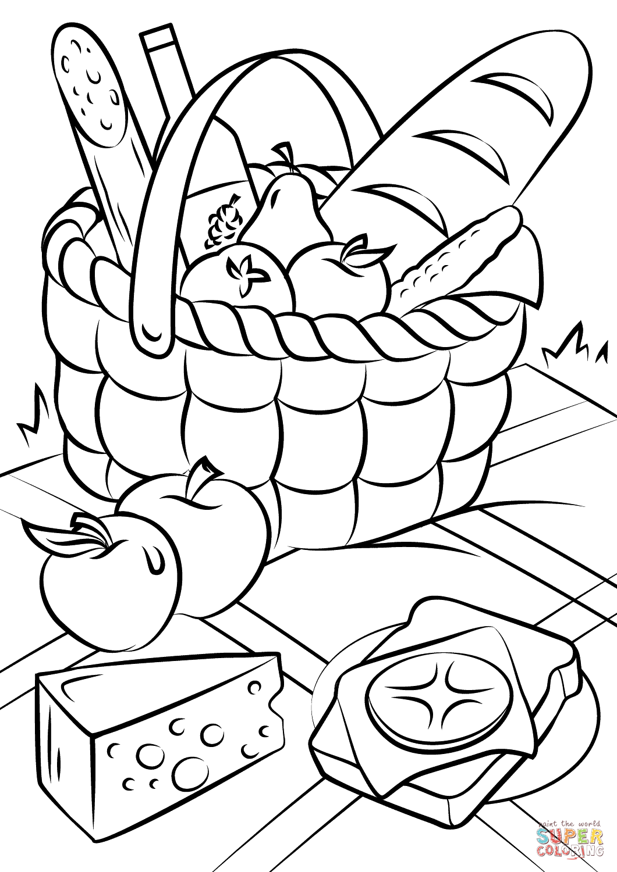 Picnic Basket Food Coloring Page Free Printable Coloring Pages Basket Drawing Fruit Coloring Pages Food Coloring Pages