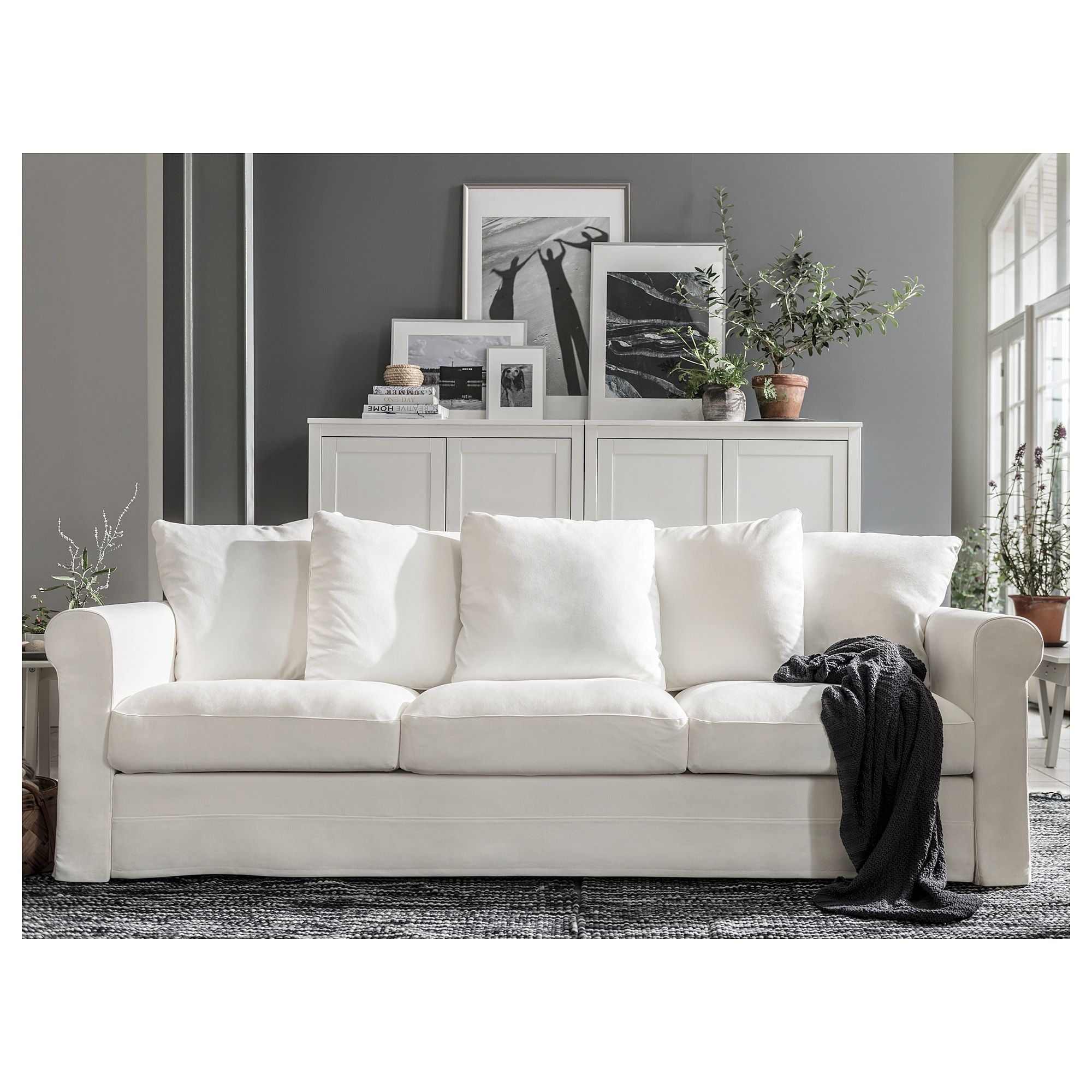 Gronlid 3 N Istuttava Sohva Inseros Valkoinen Ikea White Sofa Living Room Living Room Sofa White Sofas