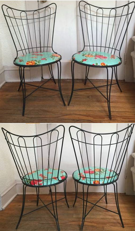 Pair Of Two 2 Mcm Mid Century Wrought Cast Iron Black Garden Patio