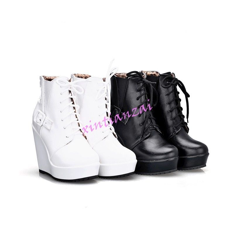 912b234eff7 Goth Womens Wedge High Heels Ankle Boot Casual Lace Up Platform Shoes  Stylish Mules Shoes