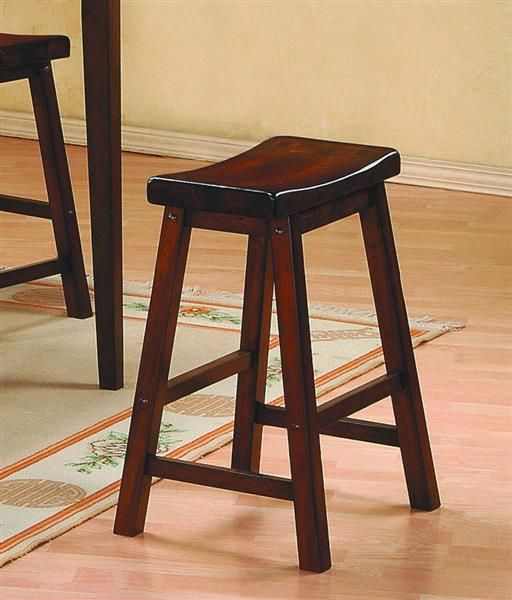 2 Home Elegance Saddleback Cherry Solid Seat Stools Cherry Wood Furniture Stool Homelegance