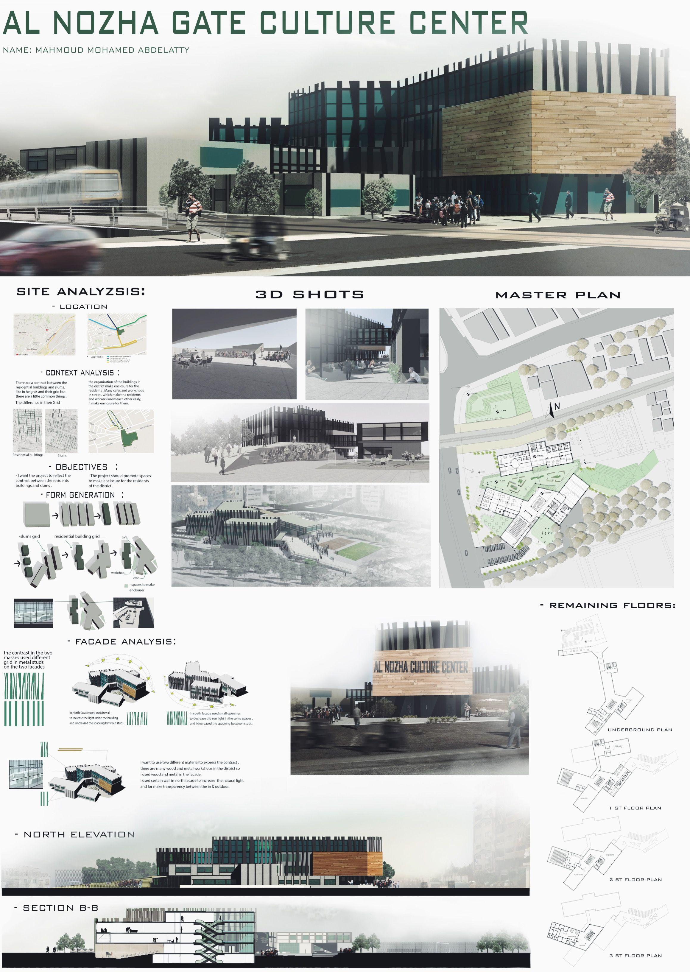 Architecture Design Sheet Format culture center al nozha gate - egypt , project boardmahmoud