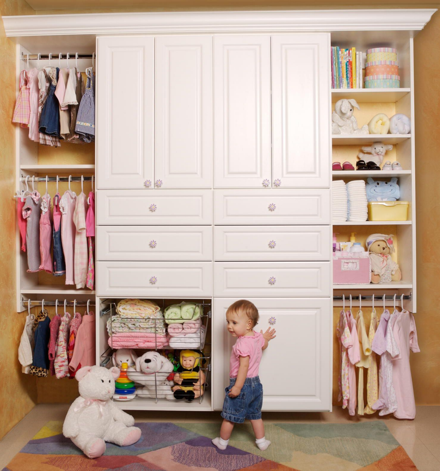 Even the littlest ones need organized storage solutions by closet