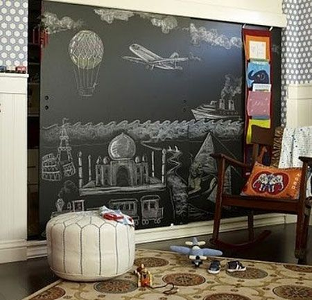 Use Black Chalkboard Paint To Turn Flat Panel Closet Doors Into A
