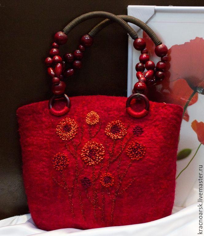 """Купить сумка """" Цветы Венеры"""" - бордовый, цветочный, красная сумка, валяная сумка ♡"""