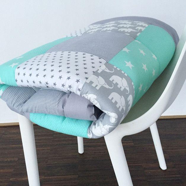 krabbeldecken patchworkdecke krabbeldecke elefant mint ein designerst ck von babrause. Black Bedroom Furniture Sets. Home Design Ideas
