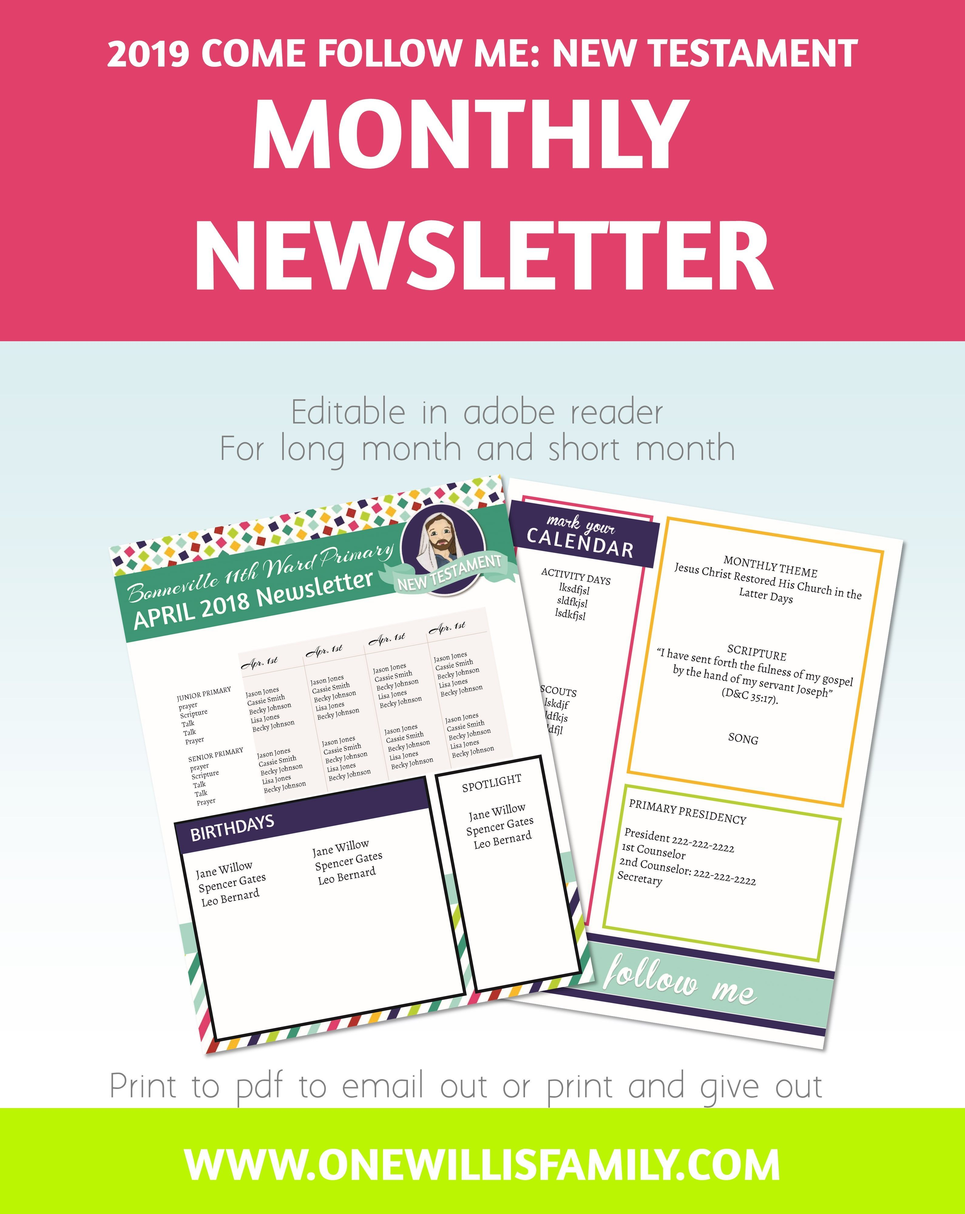 2019 Primary Theme Printables Newsletter Templates