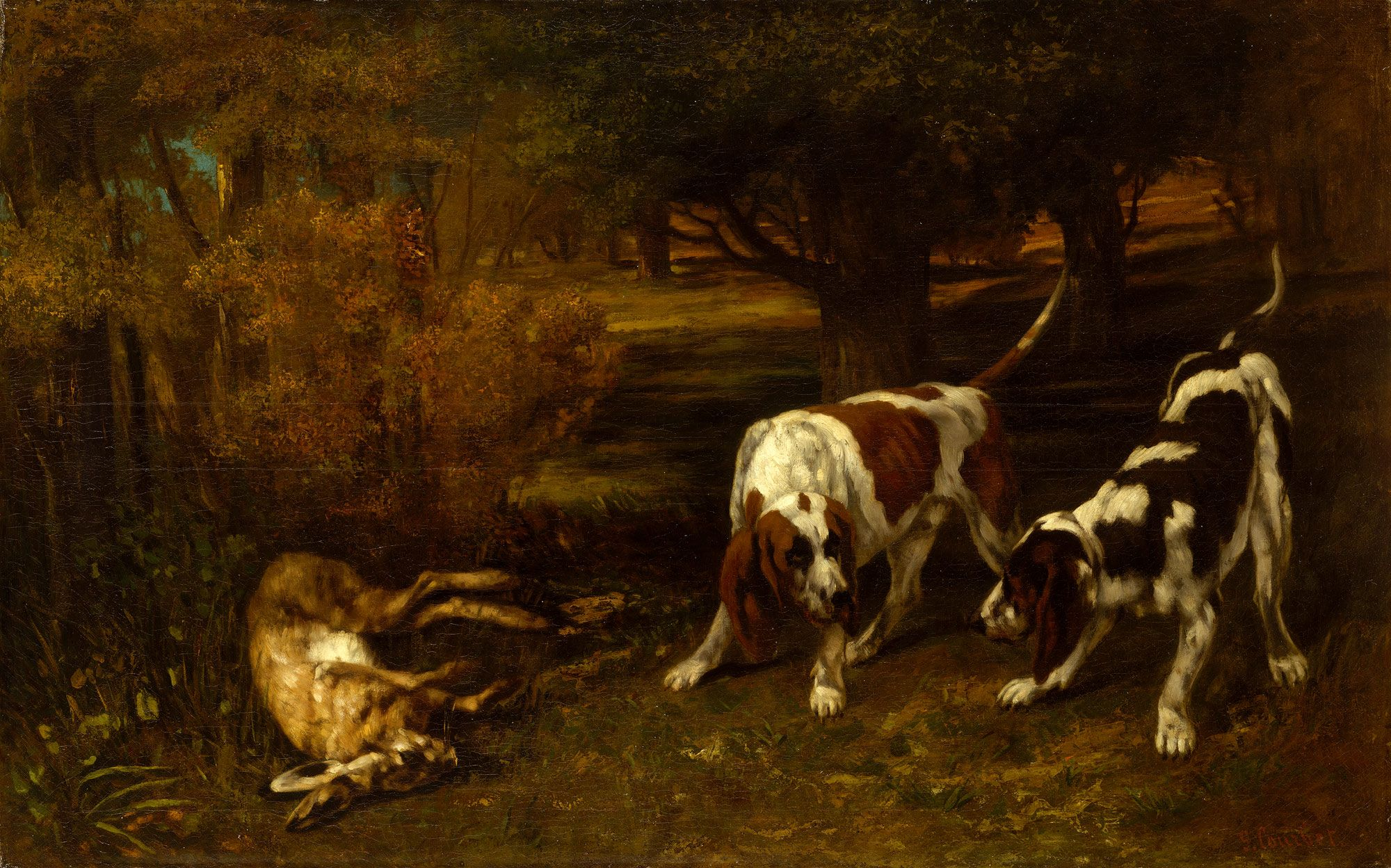Gustave Courbet Hunting Dogs With Dead Hare The Metropolitan Museum Of Art Perros De Caza Arte Sobre Perros Pintura Perro