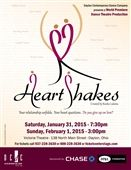 See HeartShakes world premiere at The Victoria Theatre at 138 North Main Street, Dayton Ohio on January 31 at 7:30pm and February 1 at 3:00pm. Tickets are $25 to $45 each and are available at Ticket Center Stage at 937-228-3630 or 888-228-3830 or www.ticketcenterstage.com.