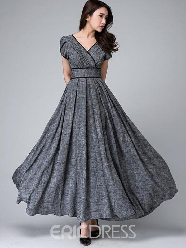 a7f2c241e68 Ericdress Solid Color Patchwork Expansion V-Neck Maxi Dress