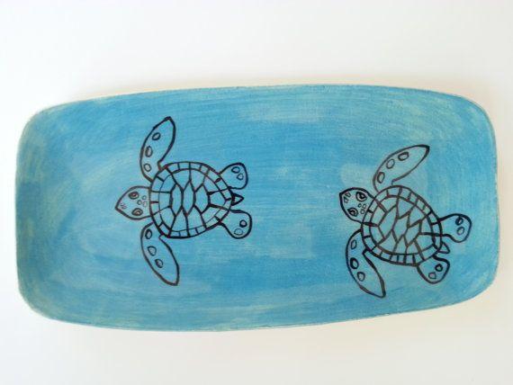 Loggerhead Sea Turtle Hatchling Platter by elizabethpottery, $30.00