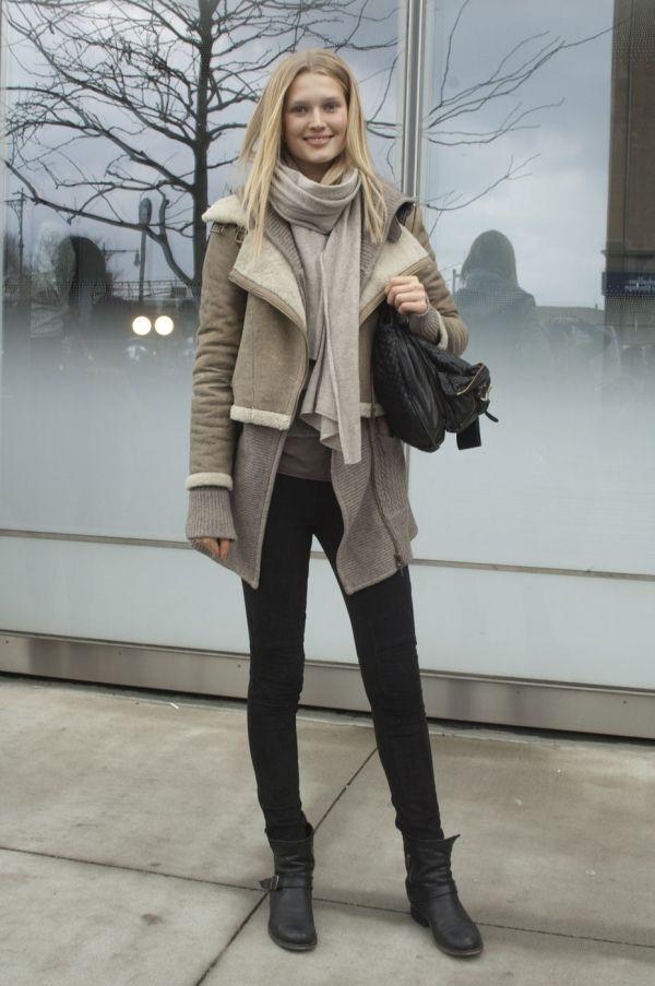 Toni Garrn Street Style Winter Street Style Winter Layering Fashion