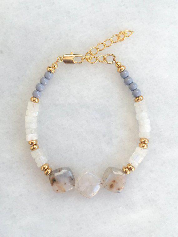 Rusty Opal + Moonstone Bracelet || 14kt gold plate
