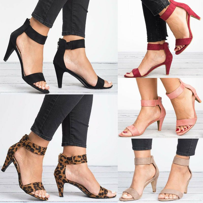 UK Womens Kitten Mid Heels Ladies Ankle Strap Sandals Zipper Casual Shoes Size