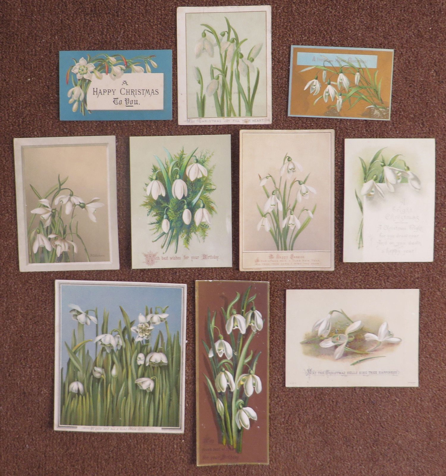 C2549 10 Victorian Greetings Cards: Snowdrops | eBay