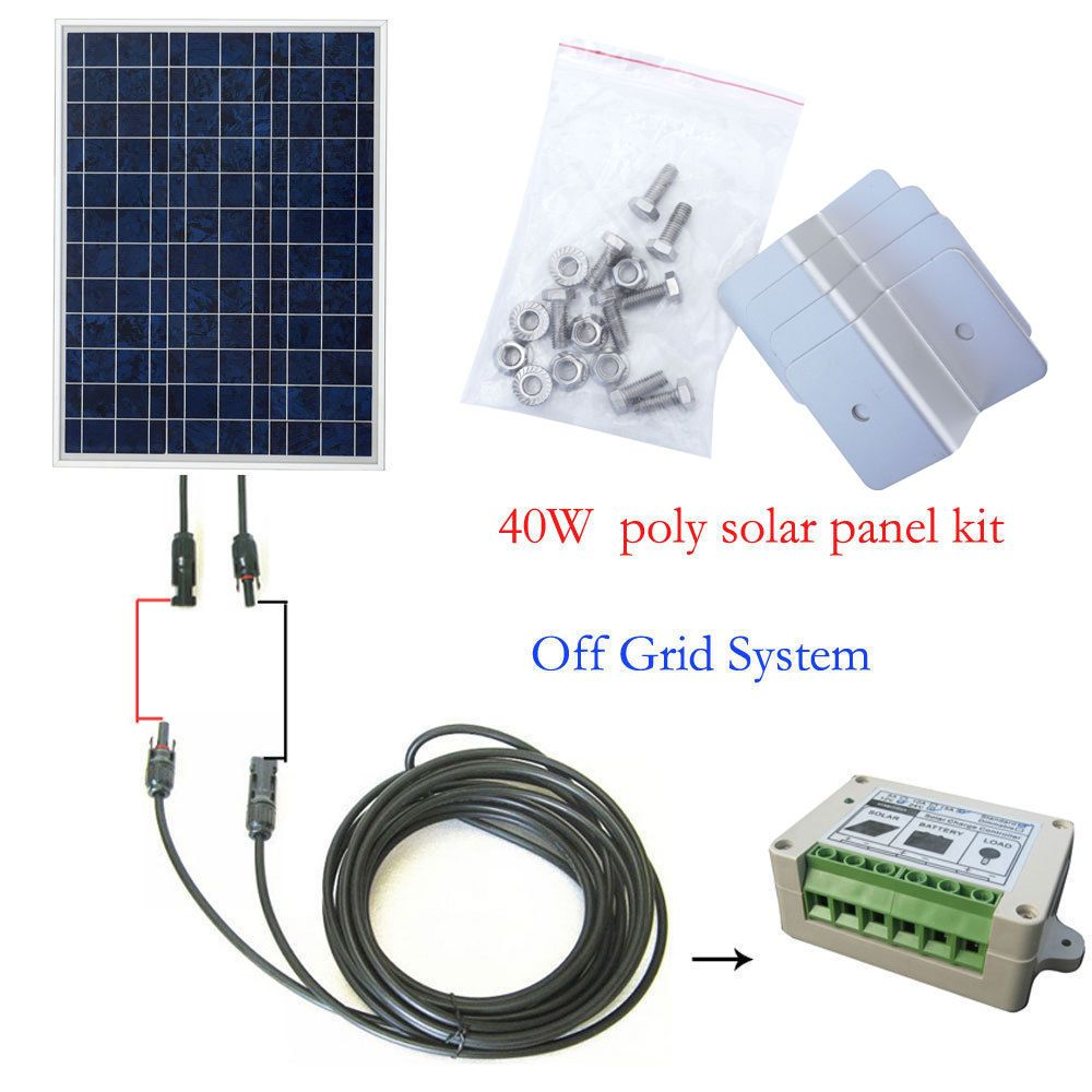 40watt Off Grid Complete Kit 40w Solar Panel For 12v System Camping Boat Home Solar Panels Diy Solar Panel Solar Power System