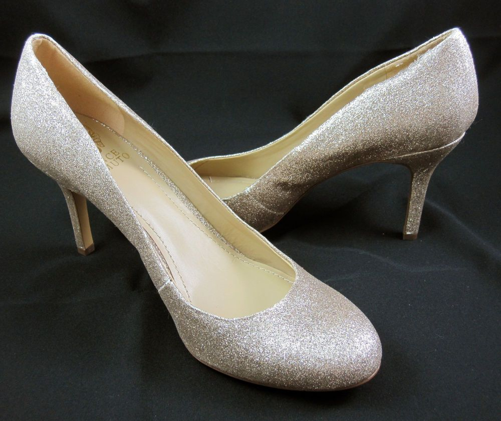 Vince Camuto Sariah Shoes Size 8.5 Stilleto Champagne Glitter Pumps High  Heels