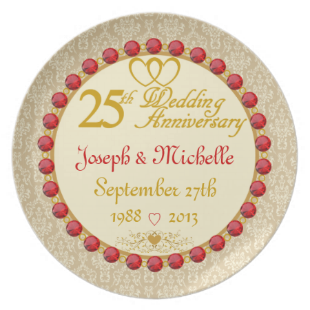 personalized names dates 25th anniversary plate 25th