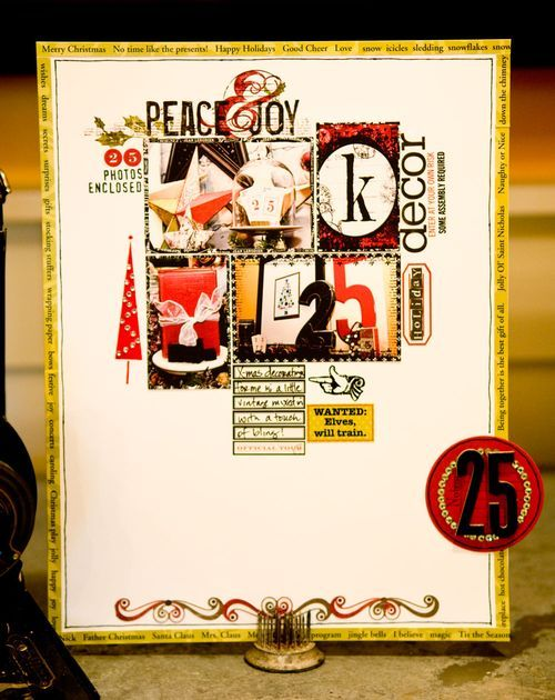 [EJ Says...] This is a good example of the very stylized layouts that were popular circa 2007/2008 when I last did scrapbooking. Not knocking it, but to my eyes some of the layouts got tooooo heavy on the accessorizing and the central theme gets buried. Just sayin'. This is a nice layout.