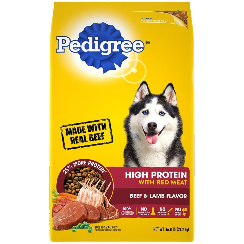 Pedigree High Protein Beef Lamb Recipe Dry Dog Food 46 8