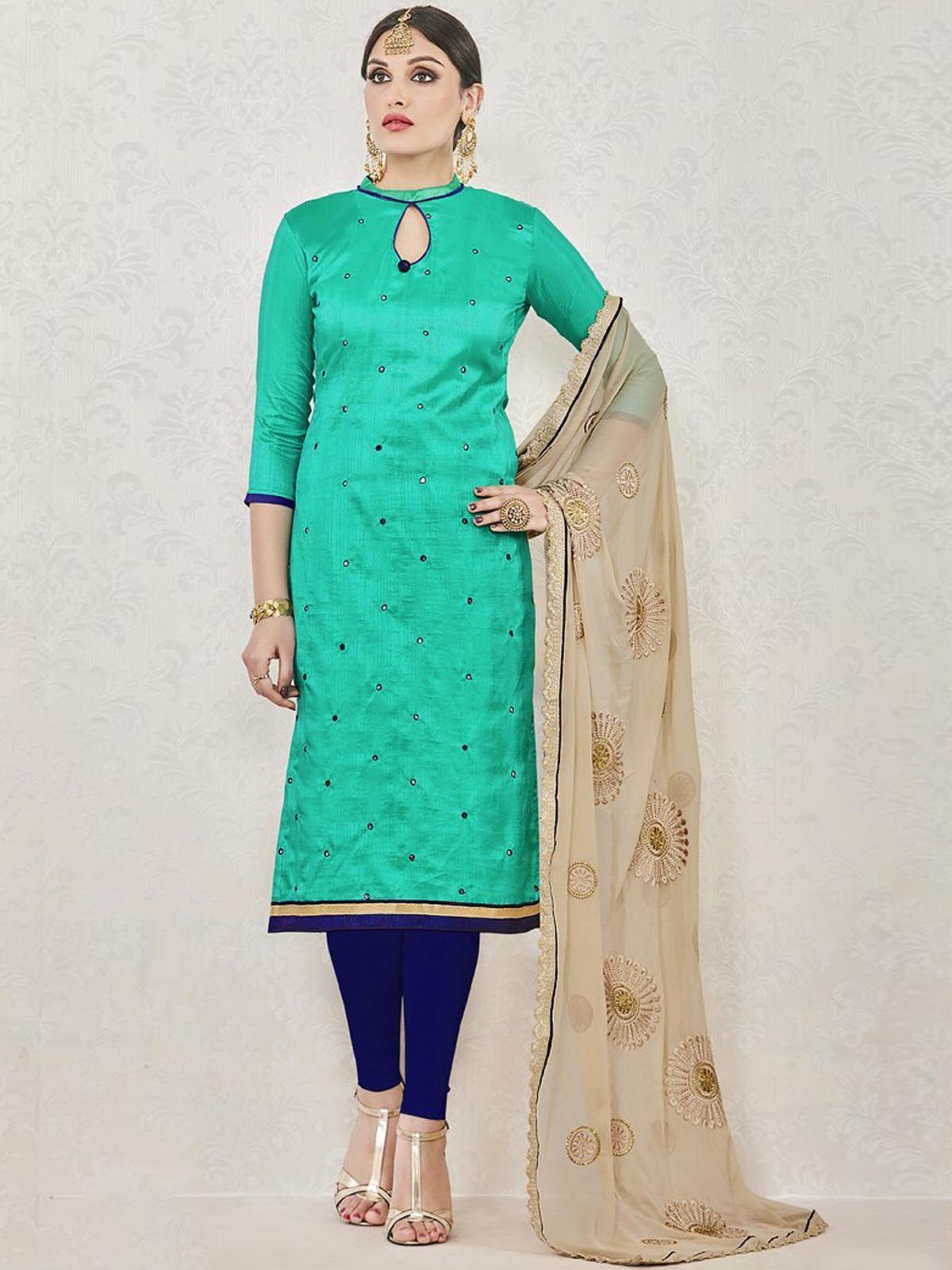 Elegant blue ceremonial wear cotton straight cut salwar suit having